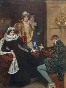 Mary Stuart and Chastelard by Linton, Sir James Dromgole (1840-1916); Private Collection; (add.info.: Mary Stuart and Chastelard. Illustration for Mary Queen of Scots edited by W Shaw Sparrow (Hodder & Stoughton, c 1910).); © Look and Learn; English,  out of copyright